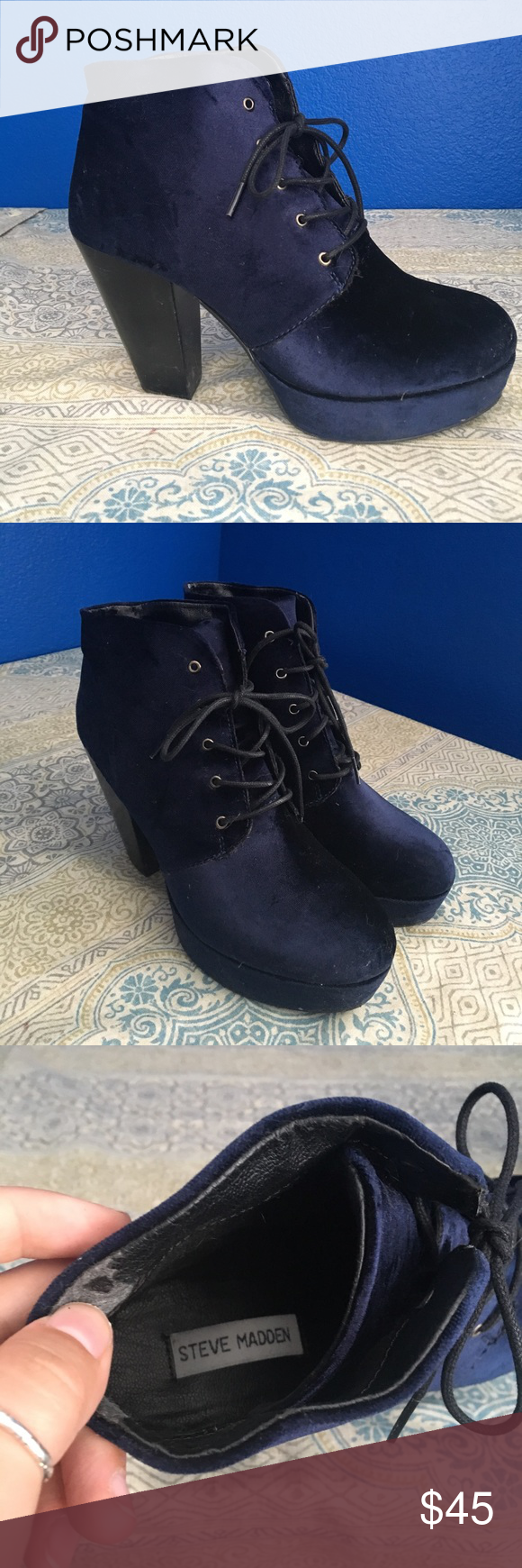 Steve Madden platforms Blue velvet lace up platform booties Steve Madden Shoes Platforms