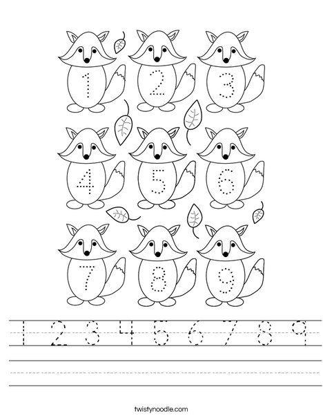 1 2 3 4 5 6 7 8 9 Worksheet - Twisty Noodle   Worksheets ...