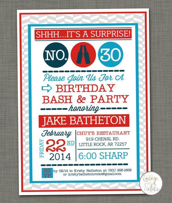 Surprise birthday invitation digital- 30th birthday party invitation- adult birthday invitation- men birthday invitation