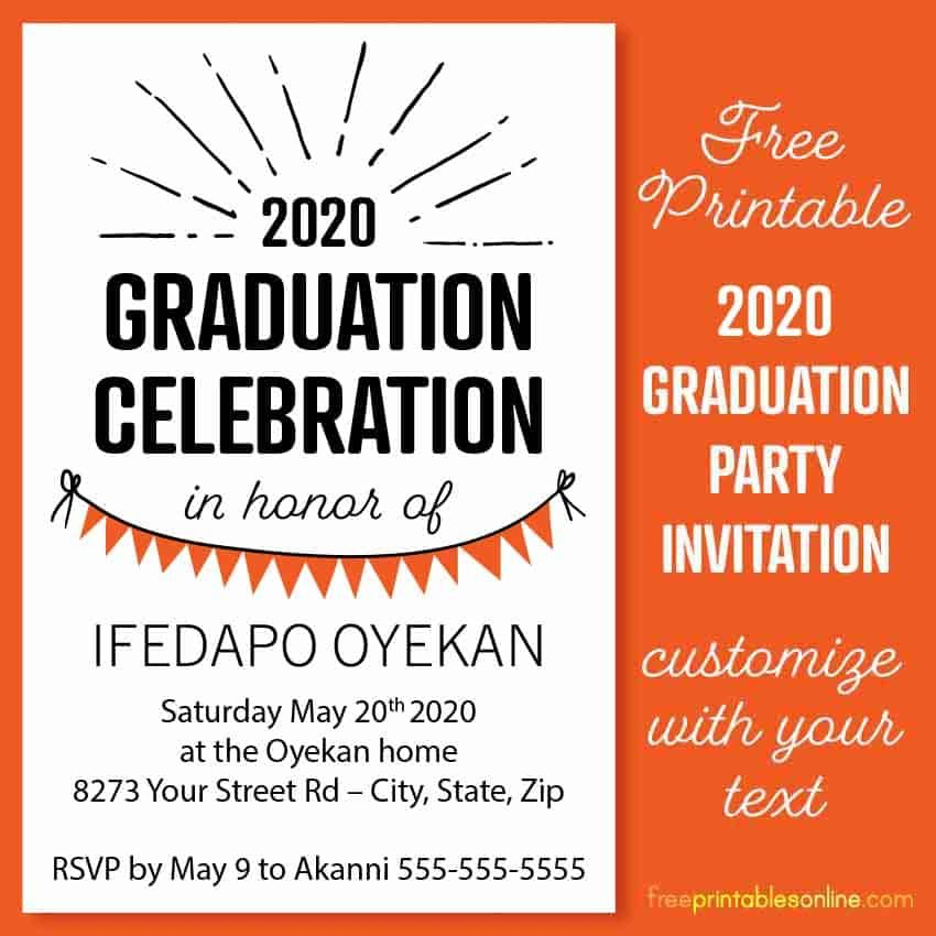 printable 2020 graduation party invitation in 2020  with