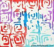 BATIK process.  Glue Batik-geometric patterns