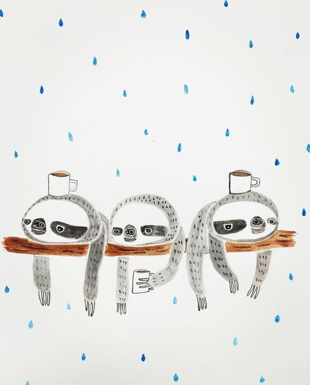 ah, rainy monday from igimidraws on Ello. Sloth art