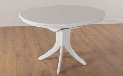 Hudson Round White 90 120cm Extending Dining Table Round