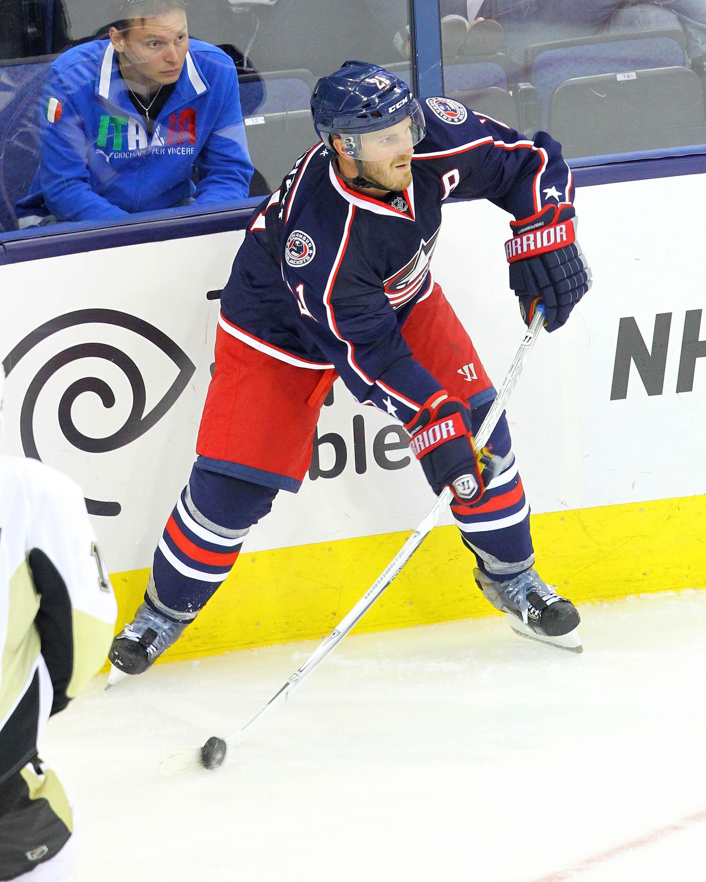 CrowdCam Hot Shot: Columbus Blue Jackets defenseman James Wisniewski clears the puck during the 3rd period of the game against the Pittsburgh Penguins at Nationwide Arena. Photo by Rob Leifheit
