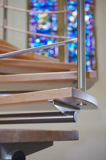 Best Spiral Staircase Stainless Steel Frame Wooden Steps 400 x 300
