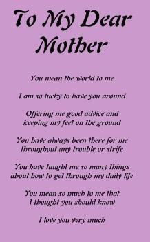 Mum Poems Happy Mother Day Quotes Poem For My Mom Happy Mothers Day Poem Poems for mother's day : pinterest