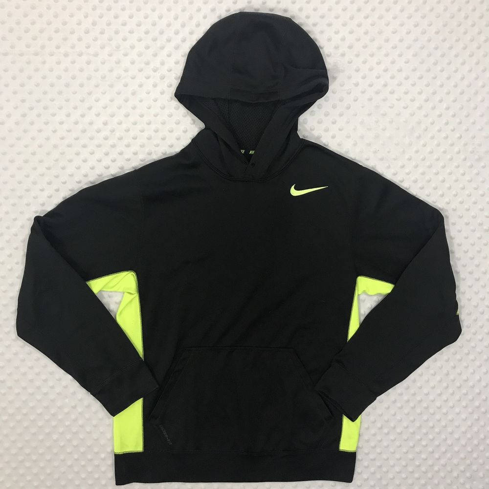 d2adc2ac576c Nike Therma Fit Men s Small Black Green Pull Over Front Pocket Hoodie  Sweater  Nike  Hoodie