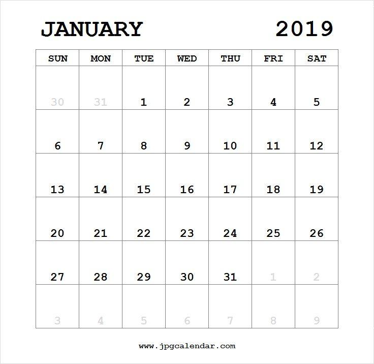 Blank January 2019 Calendar Portrait Printable
