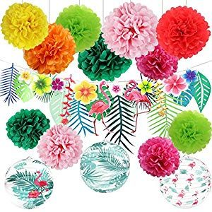 Hawaiian Luau Party Decorations Tropical Hibiscus Flowers and Flamingos Banner Large Artifici... #hawaiianluauparty