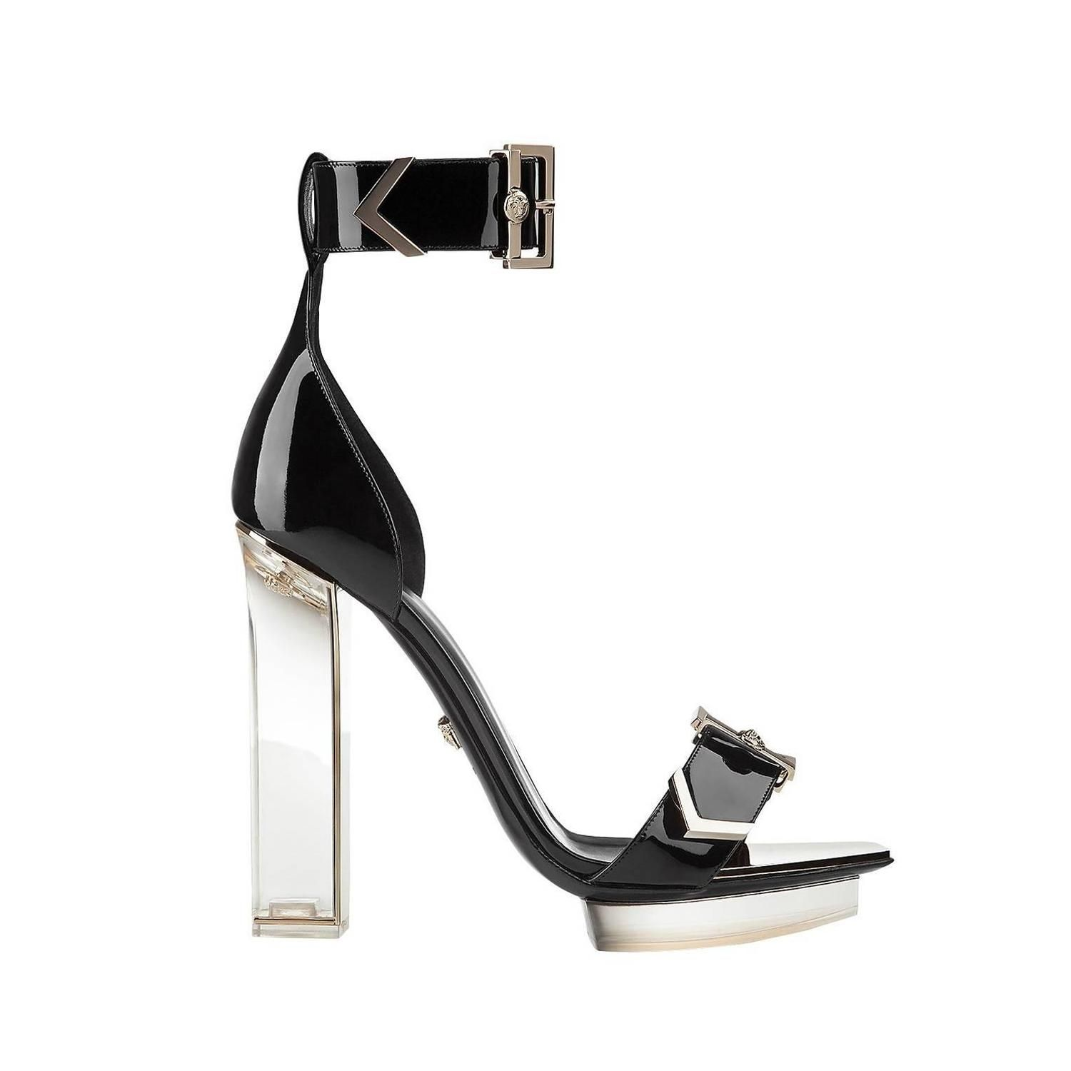 New VERSACE black patent leather