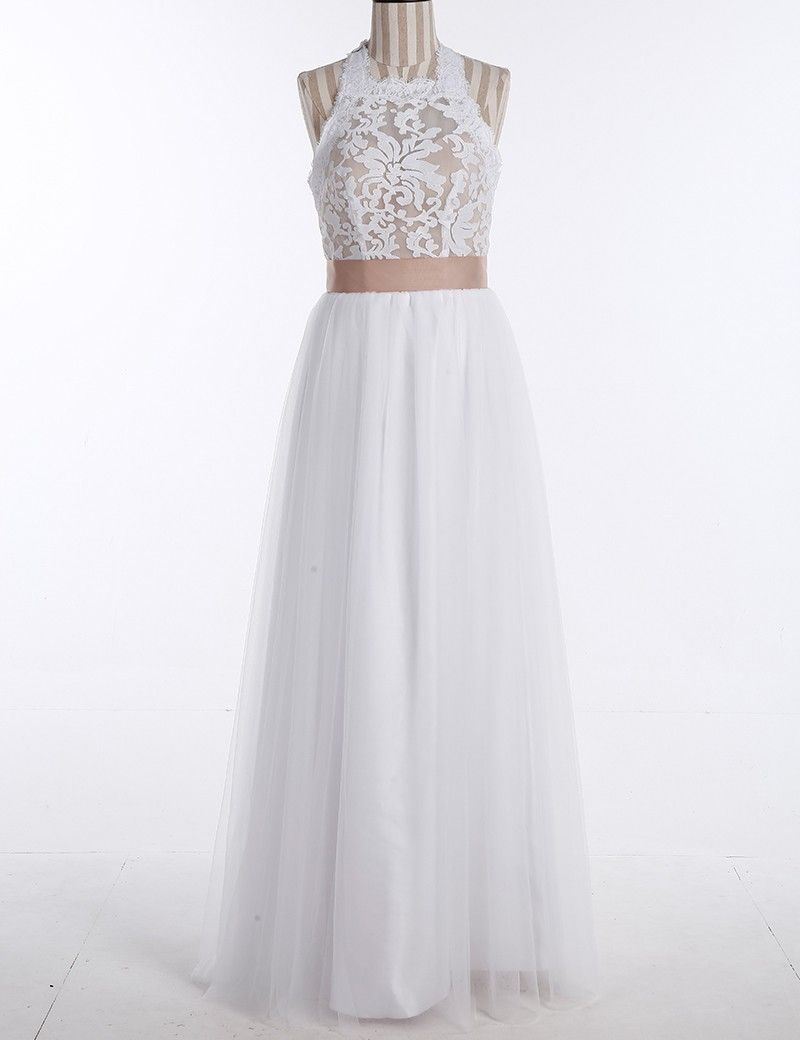 Simple jewel sleeveless floorlength lace top wedding dress with bow