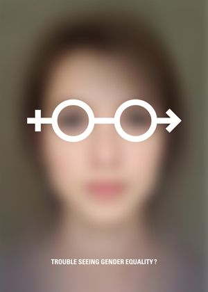 Strong and yet simple visual message. The gender symbols act, in this case, as opposing forces in the point of view of the viewer, thus generating an instant reflexion about this problematic. The description at the bottom helps to reinforce the message.