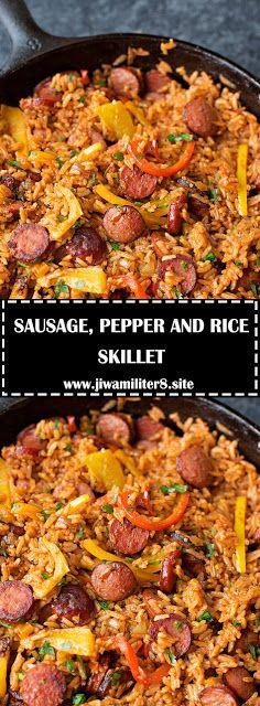 SAUSAGE, PEPPER AND RICE SKILLET - #recipes #dinnerrecipes #skilletrecipes