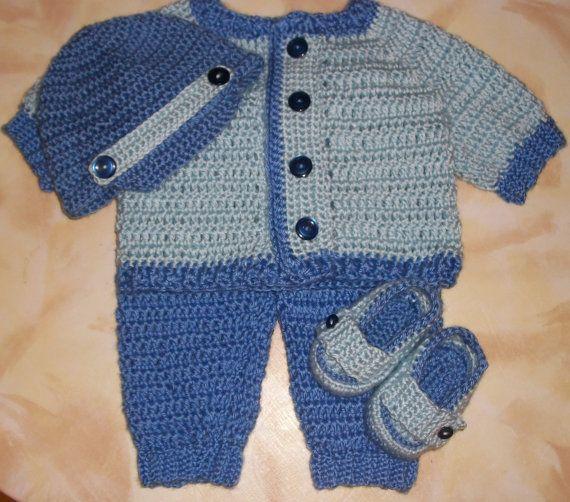 b8cbec11c13c Crochet Baby Boy Sweater Set Layette Perfect For Winter Baby Shower ...