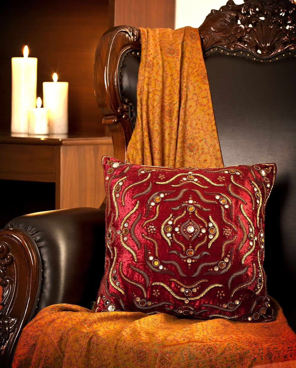 Maroon decorative Velvet cushion with embroidery
