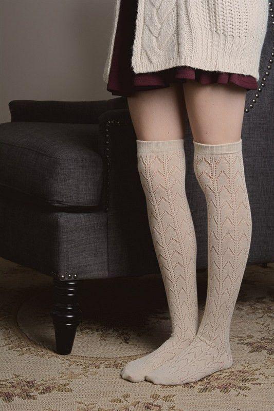 Cream Chevron Print Boot Socks