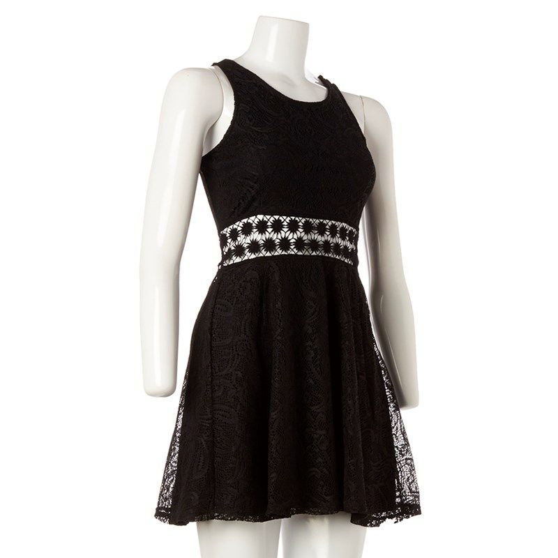 Crochet  Cut-Out Skater Dress- Jr.
