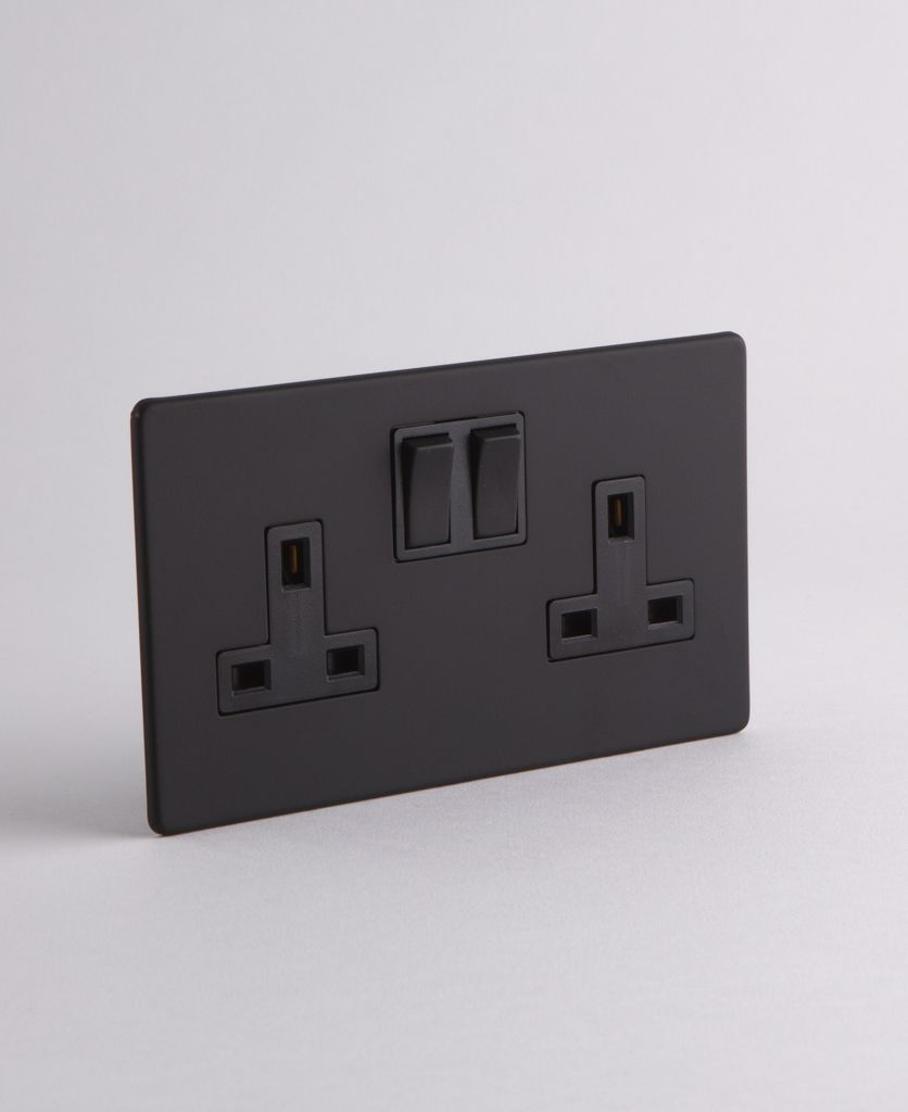 Black Socket Double Plug Socket With Black Or White Inserts Light Switches And Sockets Black Light Switch Black Wall Lights