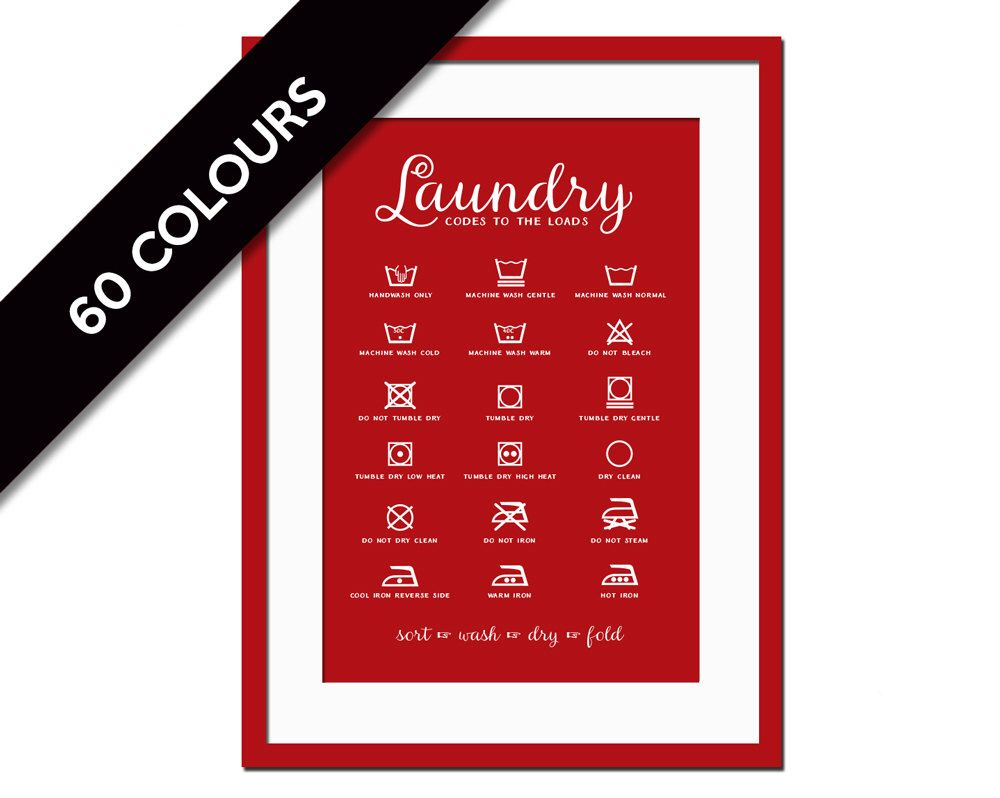 Laundry Symbols Poster Laundry Symbols  Laundry Room Poster  Wash And Dry  Infographic
