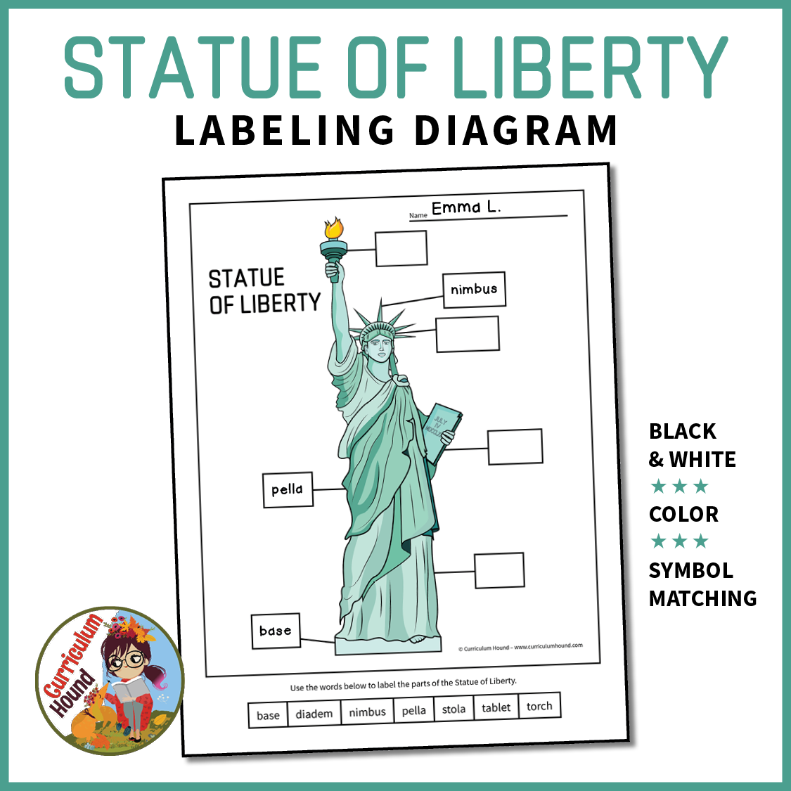 Label The Statue Of Liberty Diagram Activity Symbol