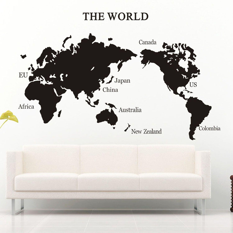 Vinilo decorativo mapamundi black world vinilos - Vinilo mapa mundi ...