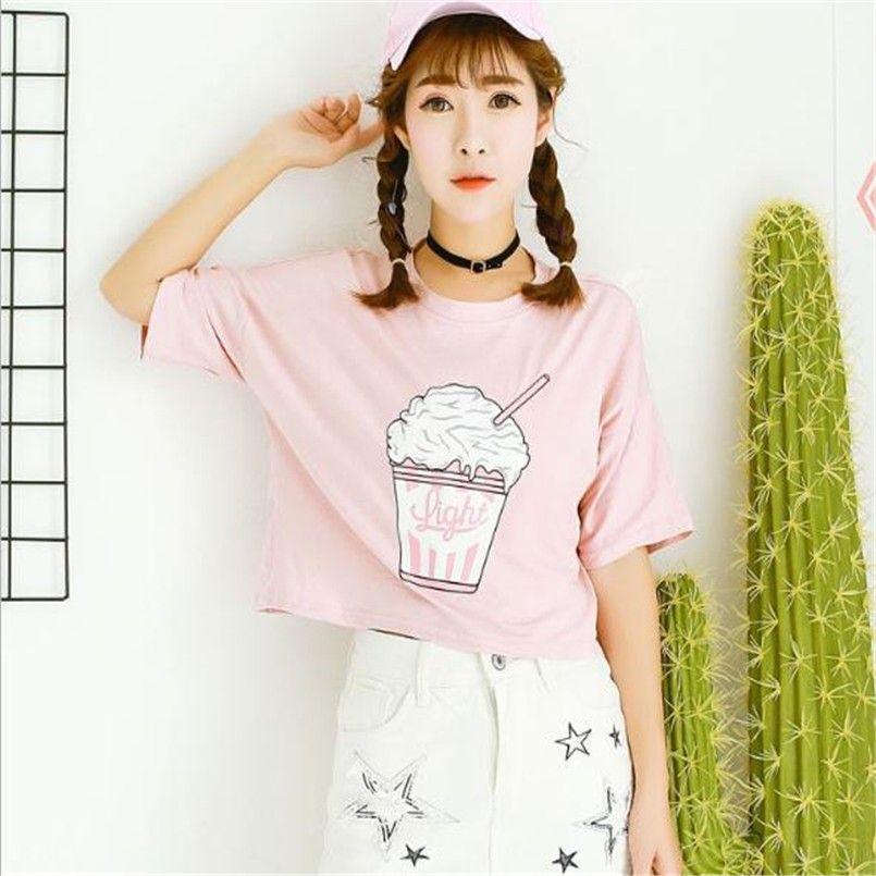 Веселые Довольно летом 2017 новый Harajuku женщины футболка мороженое  корейский стиль хлопок свободные растениеводство топы kawaii футболка  женщины ти топы ... 8b1b57de4a624