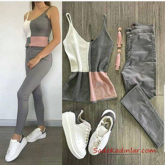 2019 Spor Ayakkabı Kombinleri Gri Yüksel Bel Kot Pantolon Gri Rnk Bloklu Askılı Bluz Beyaz Spor Ayakkabı #trendyoutfitsforschool