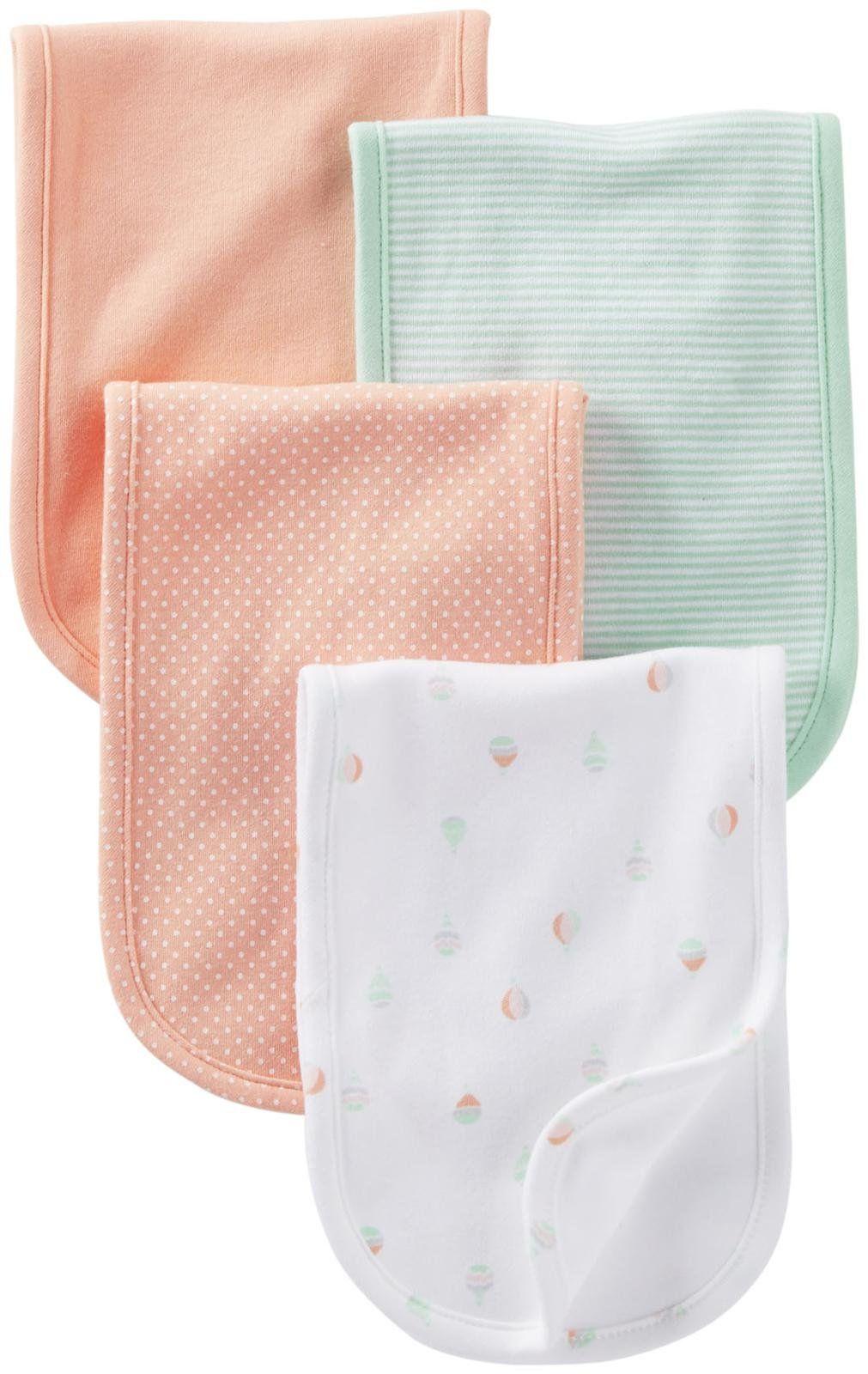Carter S Burp Cloth Mint Peach Balloon 4 Ct Free Shipping