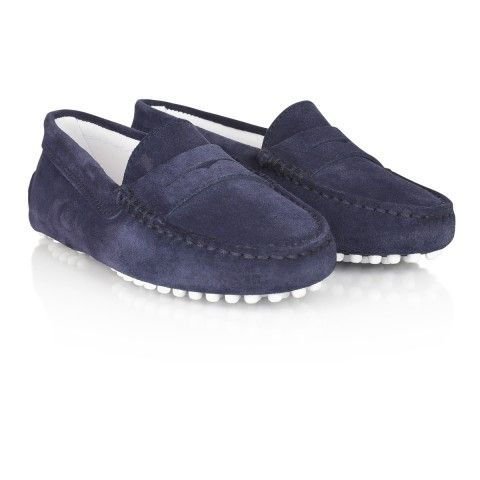 Tods Navy Blue Suede Moccasin Shoes