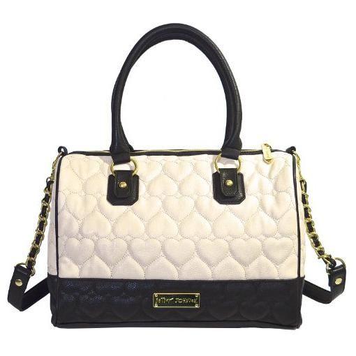 Betsey Johnson Large Satchel Style Handbag Bone Black Puffy Hearts For Women