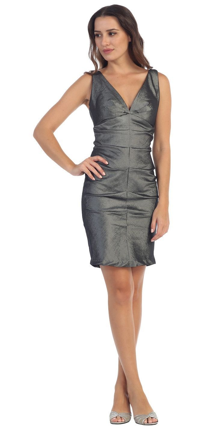 Wide Strap Charcoal Cocktail Club Dress V Neck Sexy Tight Form Fit ...