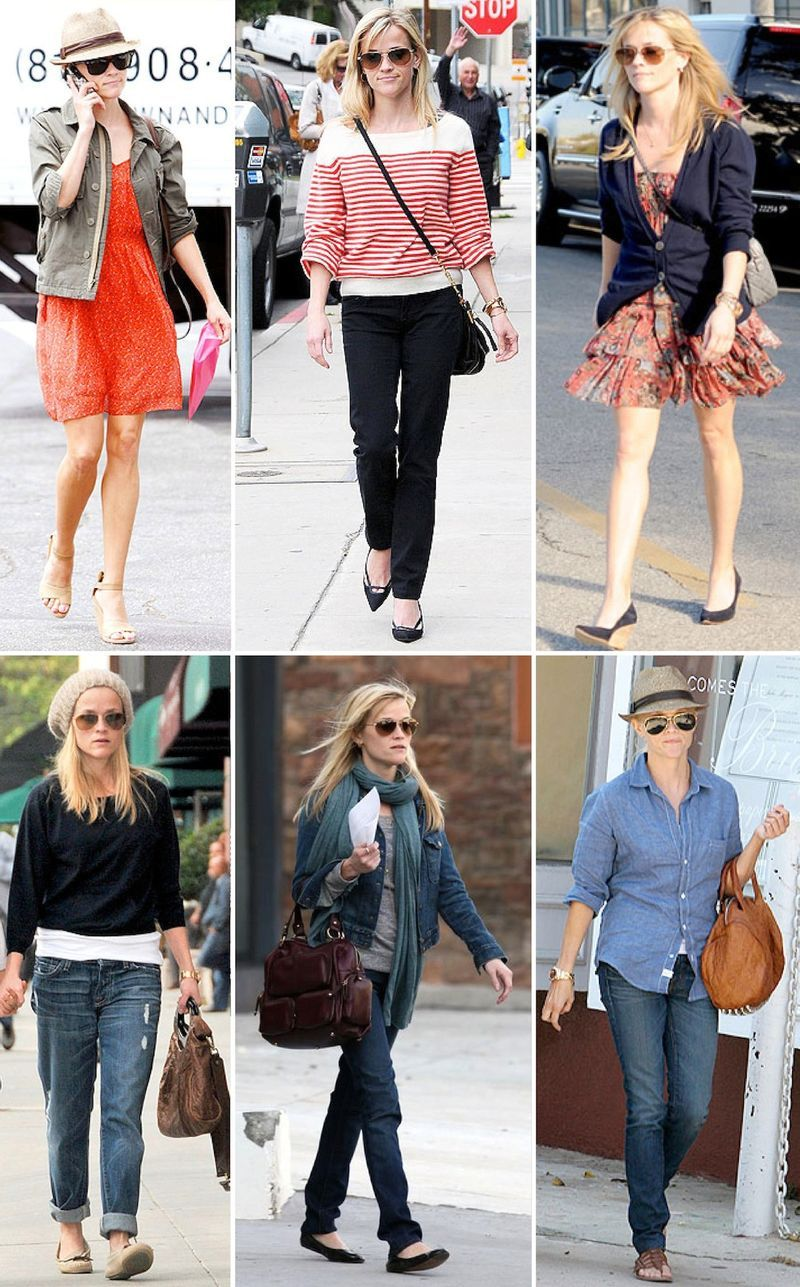Reese Witherspoons Cute Casual Mom Style