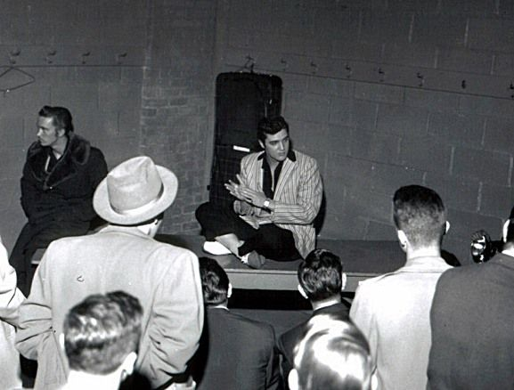 "Ottawa - April 1957 - EIN  ""Sitting cross-legged on a table in one of the hockey dressing rooms Elvis was asked by reporter James Perdue how long he thought his success would last. Elvis said he thought his moneymaking days were coming to an end, that his popularity probably would not last more than another year, two at the most. He said he wanted to capitalize fast on the rock and roll craze so he could save money for middle-age and a late marriage."" http://www.elvisinfonet.com/spotlight"