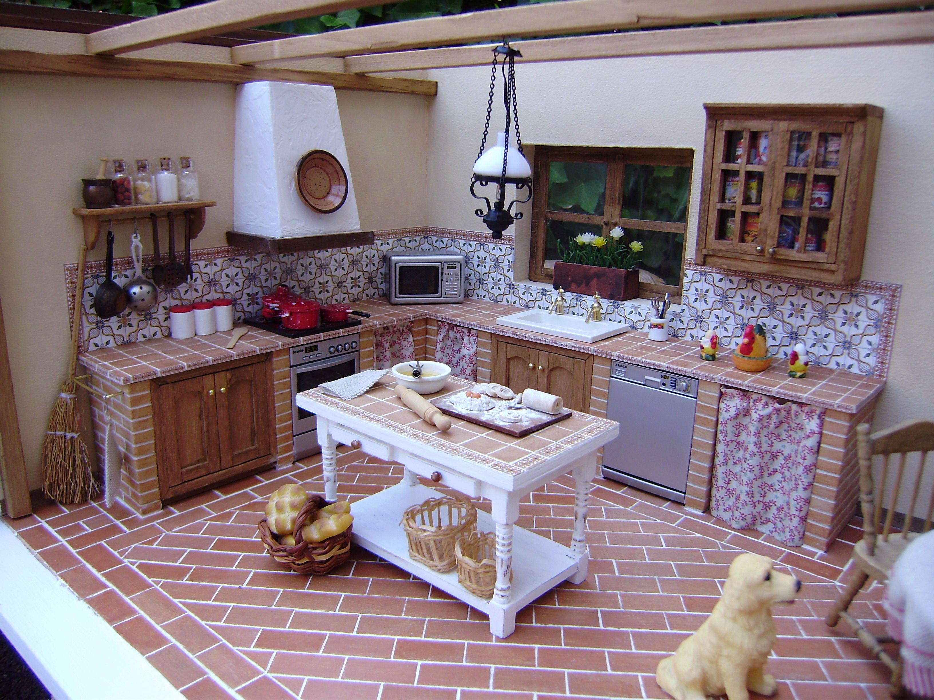 Cocina r stica sin parar de trastear miniaturas en - Cocinas de obra rusticas ...
