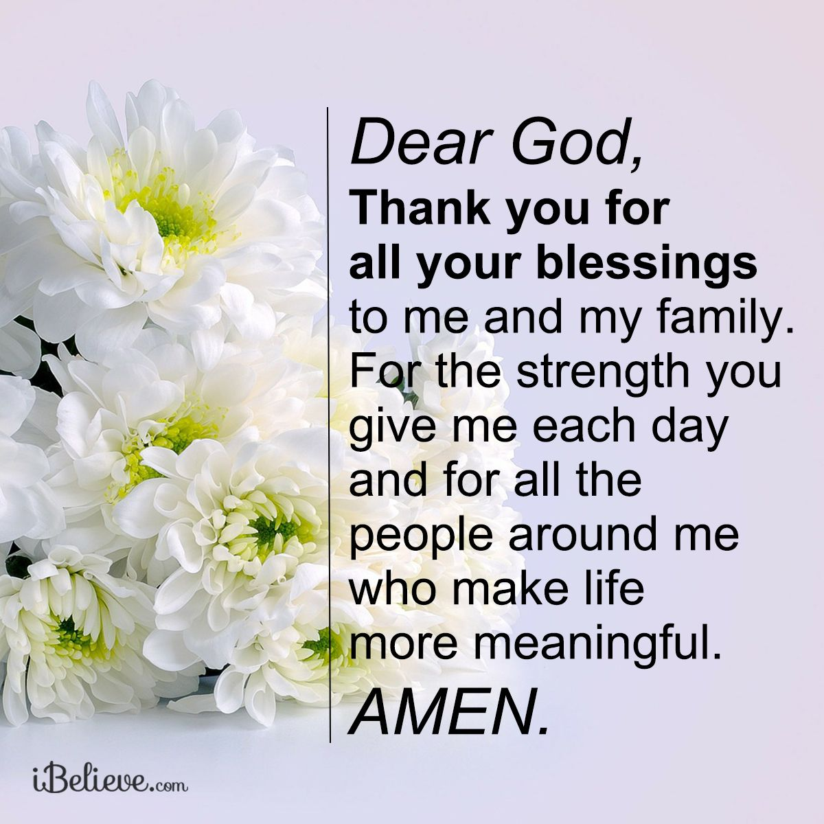 Dear God Thank You For All Your Blessings To Me And My Family