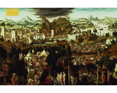 """Poster """"The Judgement of Paris and the Trojan War, 1540"""