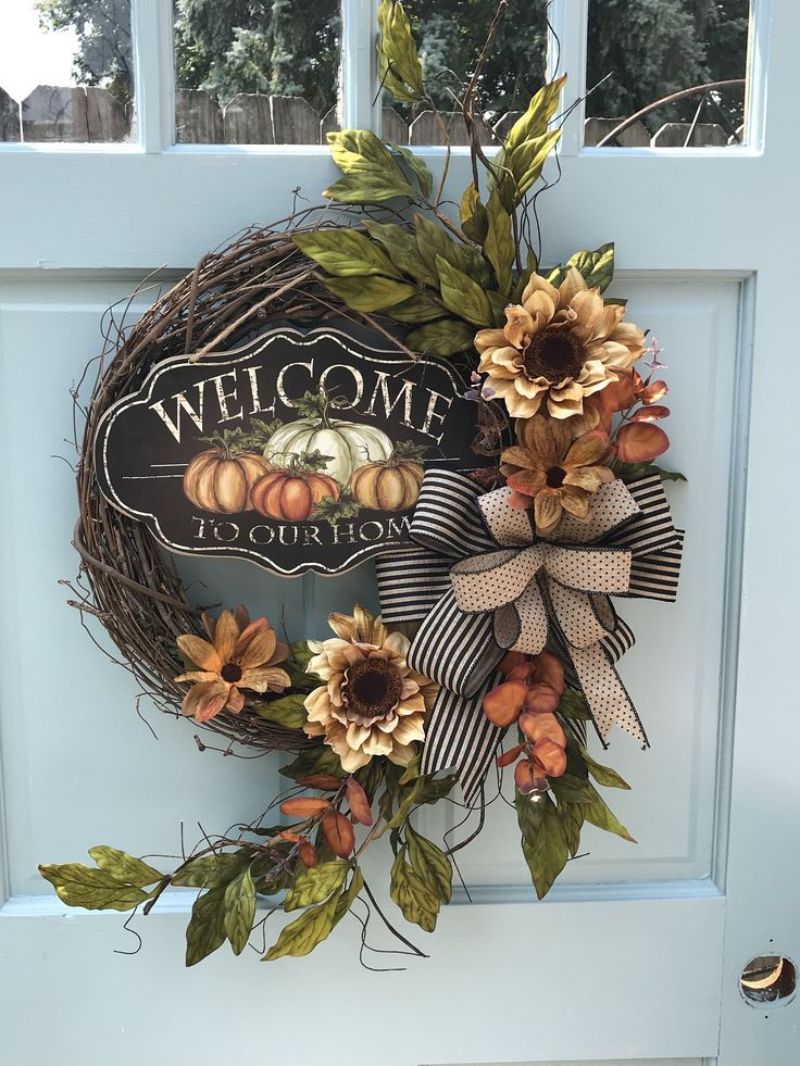 Photo of Welcome Sunflower Fall wreath for front door Autumn Pumpkin Floral Grapevine Wreath for Door, Friends wreath for front door, pumpkin wreath,