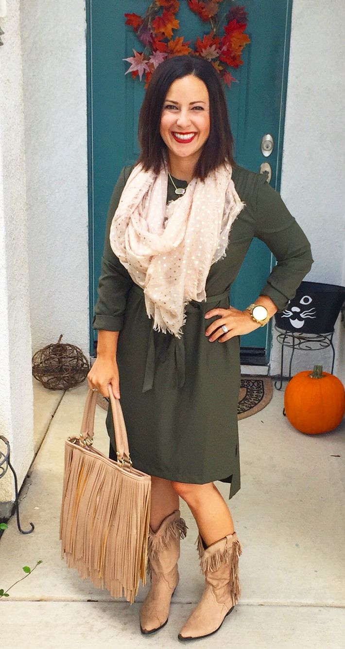Fall style, teacher outfit, ootd inspiration. Olive green shirt dress,  fringe boots