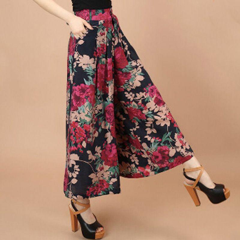 Plus Size Summer Women Print Flower Pattern Wide Leg Loose Linen