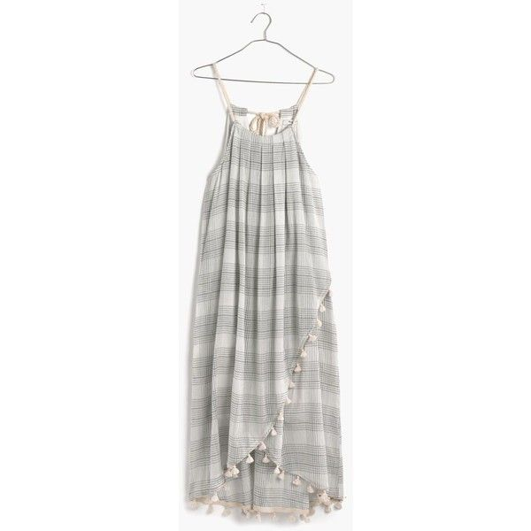 MADEWELL Tassel Scarf Dress (€54) ❤ liked on Polyvore featuring dresses, bleached linen, madewell, tie maxi dress, madewell dresses, white maxi dress and white wrap dress
