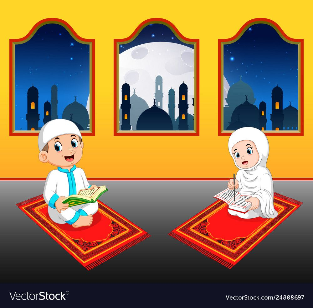 Illustration Of The Two Cte Children Are Reading Al Quran Download A Free Preview Or High Quality Adobe Illustrator Ai Eps Pdf A Seni Islamis Kartun Animasi