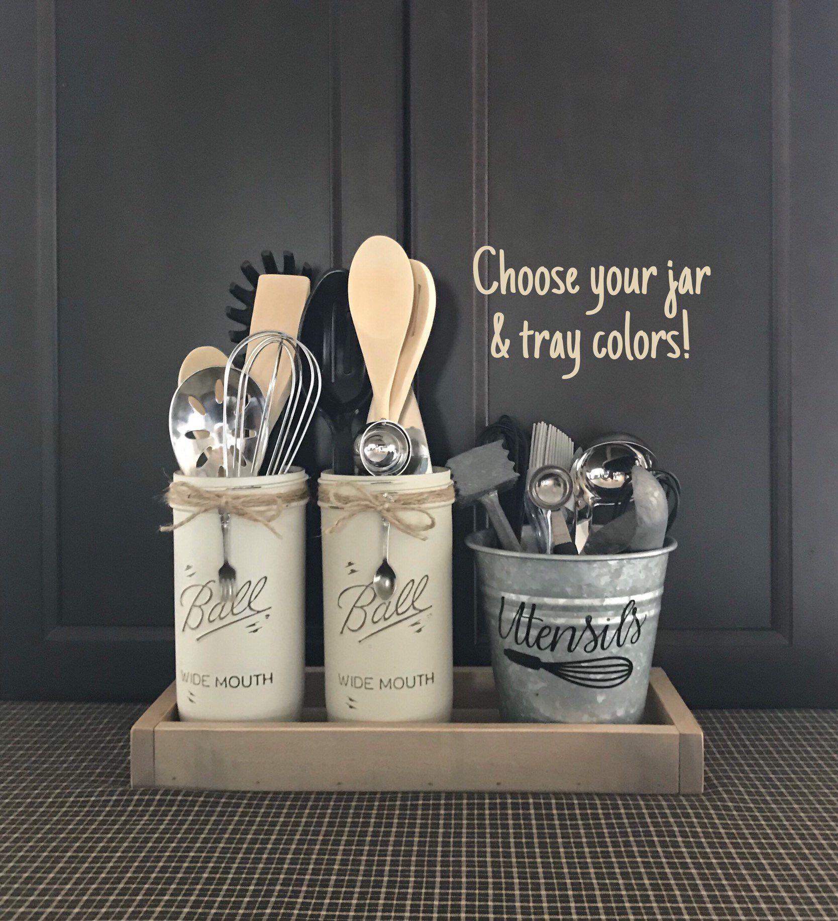 Kitchen Utensil Holder, Rustic Kitchen Decor, Modern Farmhouse Decor, Utensils Caddy, Mason Jar Decor, Rustic Home Decor, Country Home Decor images