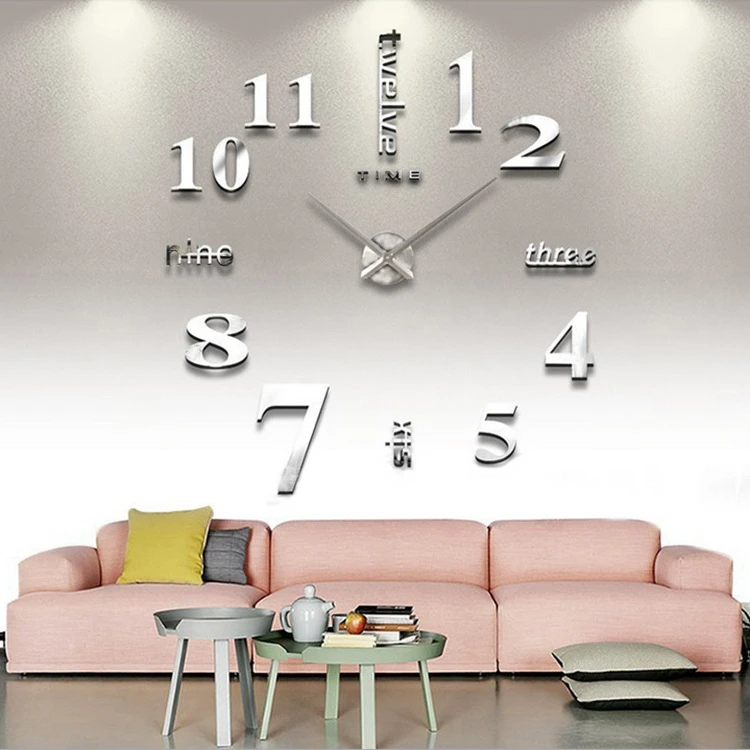 European Oversized Creative Diy Wall Clock Mirror Face Wall Sticker Cl Kiwinight In 2020 Wall Clocks Living Room Diy Clock Wall Wall Clock Sticker