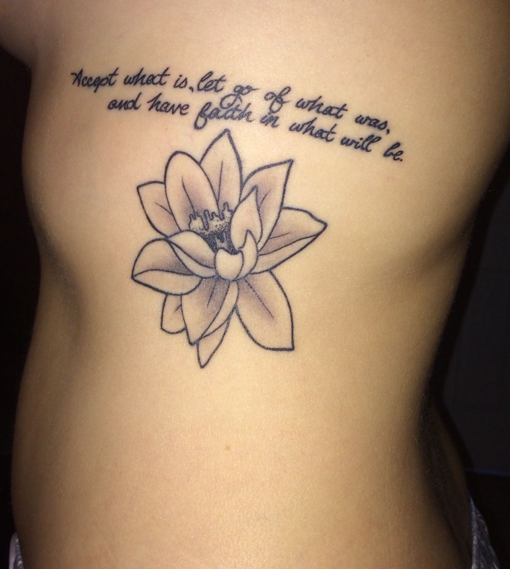 Side Tattoo With Lotus Flower And Quote Tattoos Side Tattoo Tattoo Designs For Women