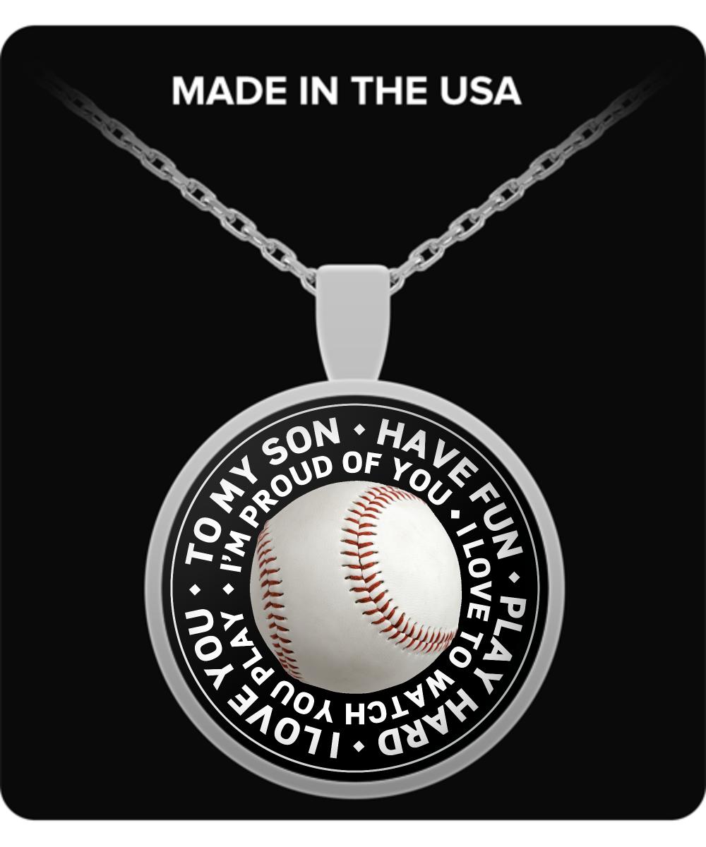 To My Son Baseball Pendant Necklace Baseball Pendant Round Pendant Necklace Baseball Necklace
