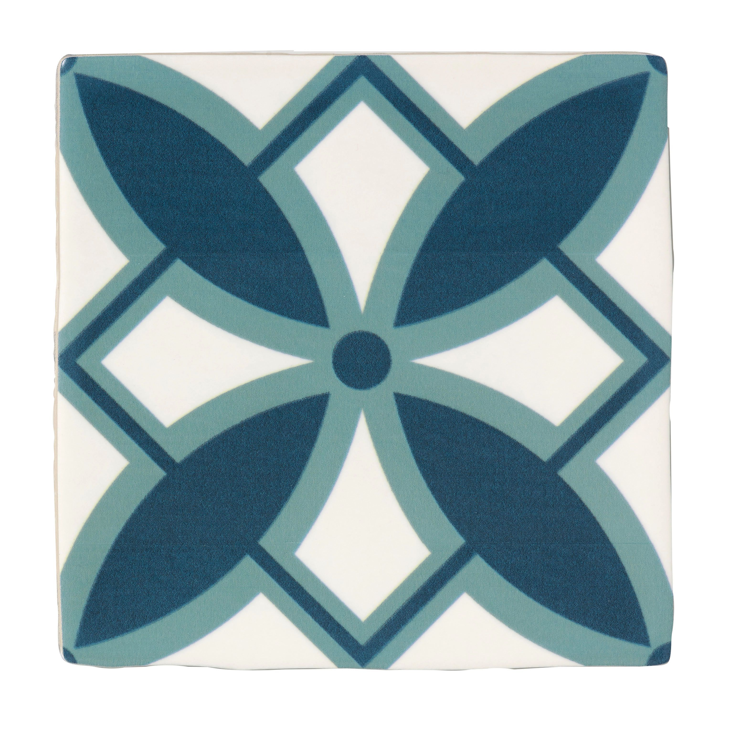 Fusion blue white satin patterned ceramic wall tile pack of 25 fusion blue white satin patterned ceramic wall tile pack of 25 l140mm w140mm dailygadgetfo Image collections