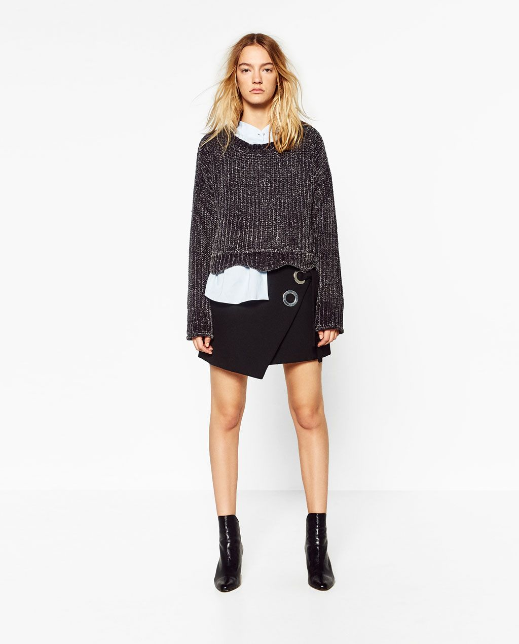 Image 1 of CROPPED ROUND NECK SWEATER from Zara | Skirts ...