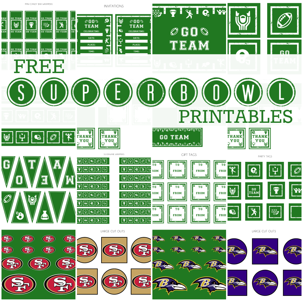 FREE Super Bowl Party Party Printables from Printabelle | Super ...