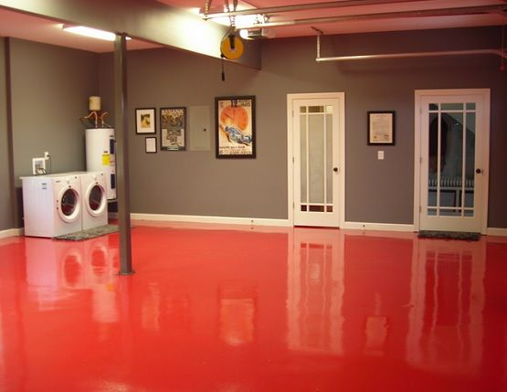 Red epoxy basement floor paint ideas basement for Cement paint colors for floors