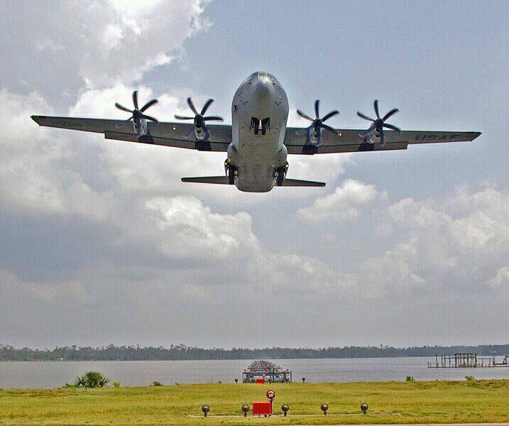 Hurricane Hunter C-130J landing at Keesler Air Force Base